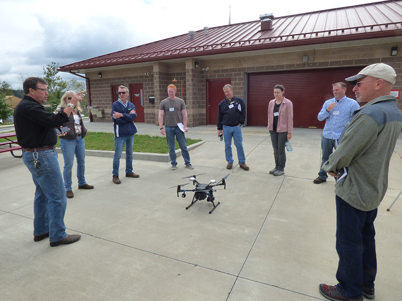 Instructor John Ennis (GES) and attendees fly the DJI Matrice 210 RTK