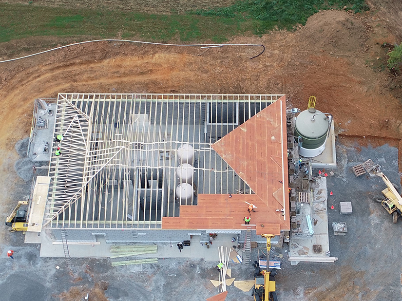 Aerial photo of Water Treatment Plant Construction