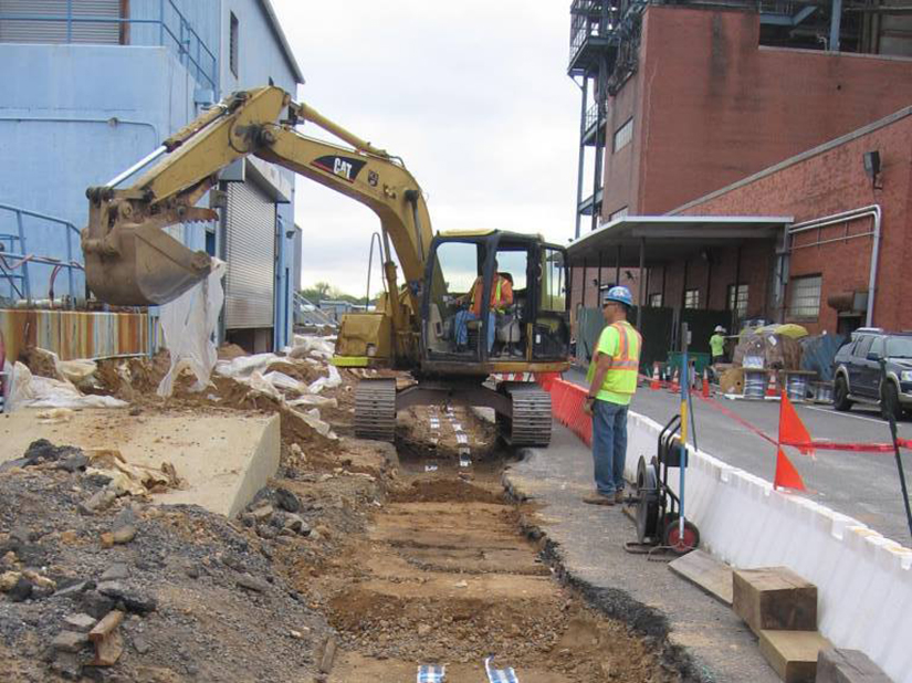 Excavation for installation of piping and utilities