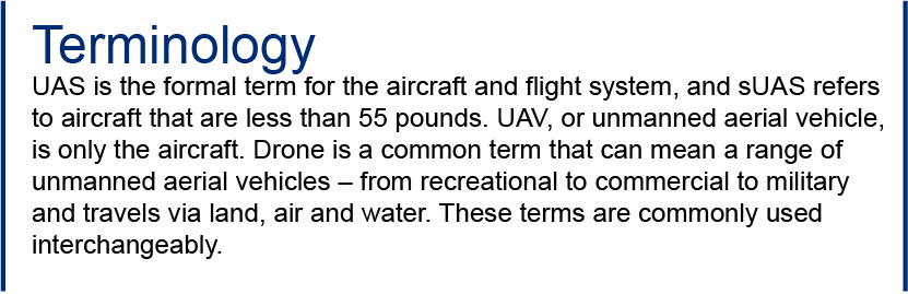 UAS is the formal term for the aircraft and flight system